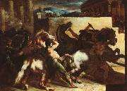 Theodore   Gericault The Race of the Barbary Horses oil painting artist
