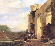 ASSELYN, Jan Italian Landscape with the Ruins of a Roman Bridge and Aqueduct cc oil