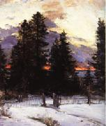 Abram Arkhipov Sunset on a Winter Landscape oil painting picture wholesale