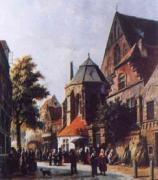 Adrianus Eversen A Dutch Market Scene 3 oil