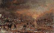 Aert van der Neer Sports on a Frozen River oil