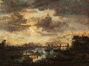 Aert van der Neer River Scene with Fishermen oil