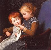 Albert Anker The Little Knitters oil painting artist