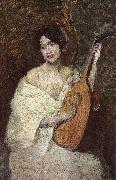 Alden J Weir Lady with a Mandolin oil painting picture wholesale