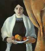 August Macke Portrait with Apples : Wife of the Artist oil painting picture wholesale