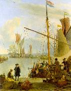 BACKHUYSEN, Ludolf View from the Mussel Pier in Amsterdam hh oil painting artist