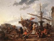 BERCHEM, Nicolaes A Southern Harbour Scene oil painting