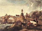 BERCHEM, Nicolaes Italian Landscape with Bridge  ddd oil painting artist
