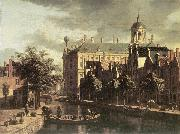 BERCKHEYDE, Gerrit Adriaensz. Amsterdam, the Nieuwezijds near the Bloemmarkt oil painting picture wholesale