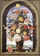 BOSSCHAERT, Ambrosius the Elder Bouquet in an Arched Window  yuyt oil