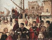 CARPACCIO, Vittore Arrival of the English Ambassadors (detail) fg oil painting artist