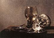 CLAESZ, Pieter Still-life with Wine Glass and Silver Bowl dsf oil painting artist