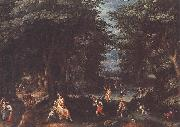 CONINXLOO, Gillis van Landscape with Leto and Peasants of Lykia fsg oil painting artist