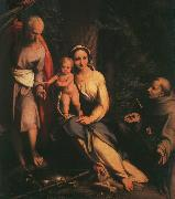 CORNELISZ VAN OOSTSANEN, Jacob The Rest on the Flight to Egypt with Saint Francis dfb oil