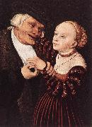 CRANACH, Lucas the Elder Old Man and Young Woman hgsw oil painting picture wholesale