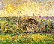 Camille Pissaro Countryside and Eragny Church and Farm oil painting picture wholesale