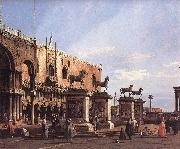 Canaletto Capriccio: The Horses of San Marco in the Piazzetta oil painting picture wholesale