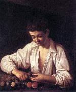 Caravaggio Boy Peeling a Fruit df Spain oil painting reproduction