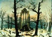 Caspar David Friedrich Cloister Cemetery in the Snow oil