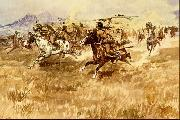 Charles M Russell Fight Between the Black Feet oil painting