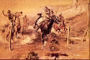 Charles M Russell The Getaway oil painting