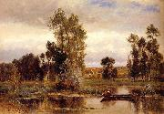 Charles-Francois Daubigny Boat on a Pond oil painting picture wholesale