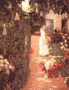 Childe Hassam Gathering Flowers in a French Garden oil painting picture wholesale