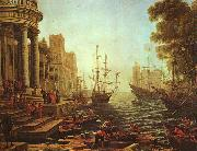 Claude Lorrain Seaport : The Embarkation of St.Ursula oil painting picture wholesale