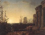 Claude Lorrain Harbour Scene at Sunset fg oil painting picture wholesale