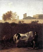 DUJARDIN, Karel Italian Landscape with Herdsman and a Piebald Horse sg oil painting