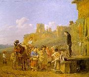 DUJARDIN, Karel A Party of Charlatans in an Italian Landscape df oil painting picture wholesale