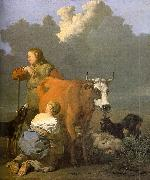 DUJARDIN, Karel Woman Milking a Red Cow ds oil painting picture wholesale