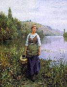 Daniel Ridgeway Knight By the Riverside oil painting picture wholesale