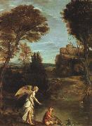 Domenichino Landscape with Tobias Laying Hold of the Fish oil painting artist