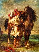 Eugene Delacroix Arab Saddling his Horse oil painting artist