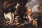 FYT, Jan Diana with Her Hunting Dogs beside Kill  dfg oil painting artist