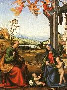 Fra Bartolommeo The Holy Family with the Infant St. John in a Landscape oil painting artist