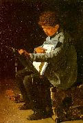 Francois Bonvin Seated Boy with a Portfolio oil painting artist