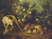 Francois Desportes Dog Guarding Game near a Rosebush oil painting picture wholesale