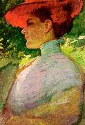 Frank Duveneck Lady With a Red Hat oil painting picture wholesale