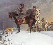 Franz Kruger Prussian Cavalry Outpost in the Snow oil painting picture wholesale