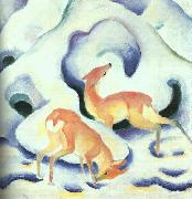 Franz Marc Deer in the Snow oil painting artist