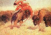 Frederick Remington The Buffalo Runner oil painting artist