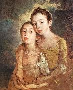 GAINSBOROUGH, Thomas The Artist s Daughters with a Cat oil painting artist