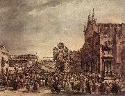 GUARDI, Francesco Pope Pius VI Blessing the People on Campo Santi Giovanni e Paolo sdg oil painting picture wholesale