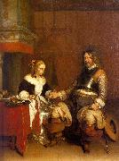 Gerard Ter Borch Soldier Offering a Young Woman Coins Spain oil painting reproduction