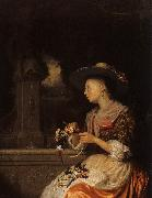 Godfried Schalcken Young Woman Weaving a Garland oil painting picture wholesale