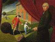 Grant Wood Parson Weem s Fable oil painting artist