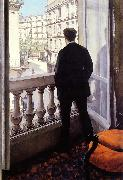 Gustave Caillebotte Young Man at his Window oil painting artist