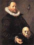 HALS, Frans Portrait of a Man Holding a Skull s oil painting artist